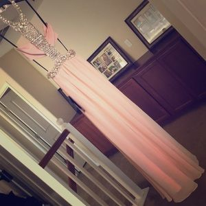 Bebe Dress Floating Bandeau Beaded Gown